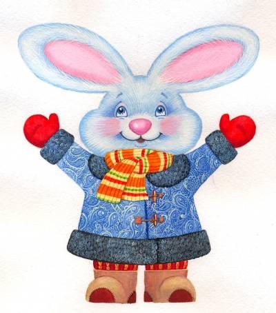 """Зайка, зайцы, символ 2011, животные.  Предпросмотр схемы вышивки  """"Зайка """" ."""
